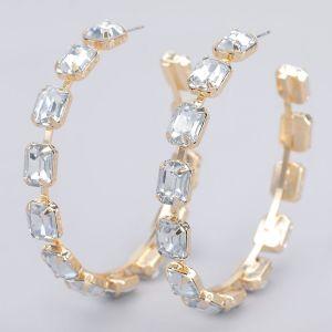 ER15 Oversize diamante crystal hoops earnings