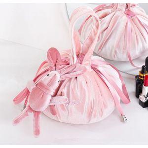 PUR020 Lazy Drawstring Makeup Bag Pink